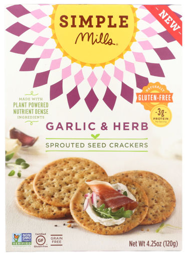 Picture of Simple Mills Crackers Sprouted Seed Garlic & Herb Box