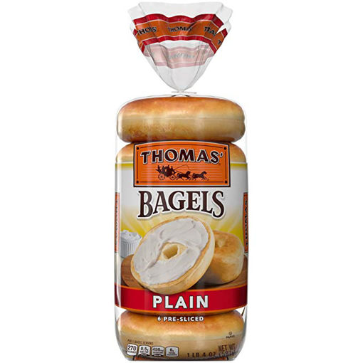 Picture of Thomas Bagels Plain Pre Sliced 6 Count