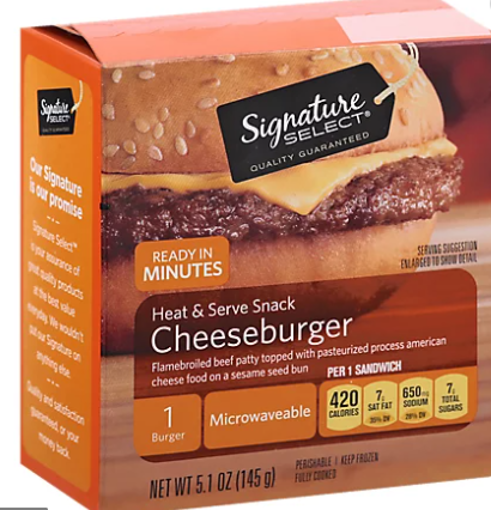 Picture of Signature SELECT Heat & Serve Snack Cheeseburger Frozen